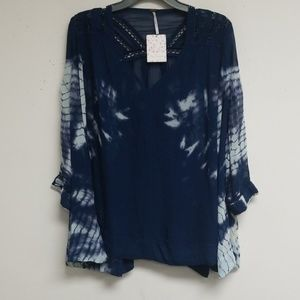 Free People Navy Combo Long Sleeve Top Size S